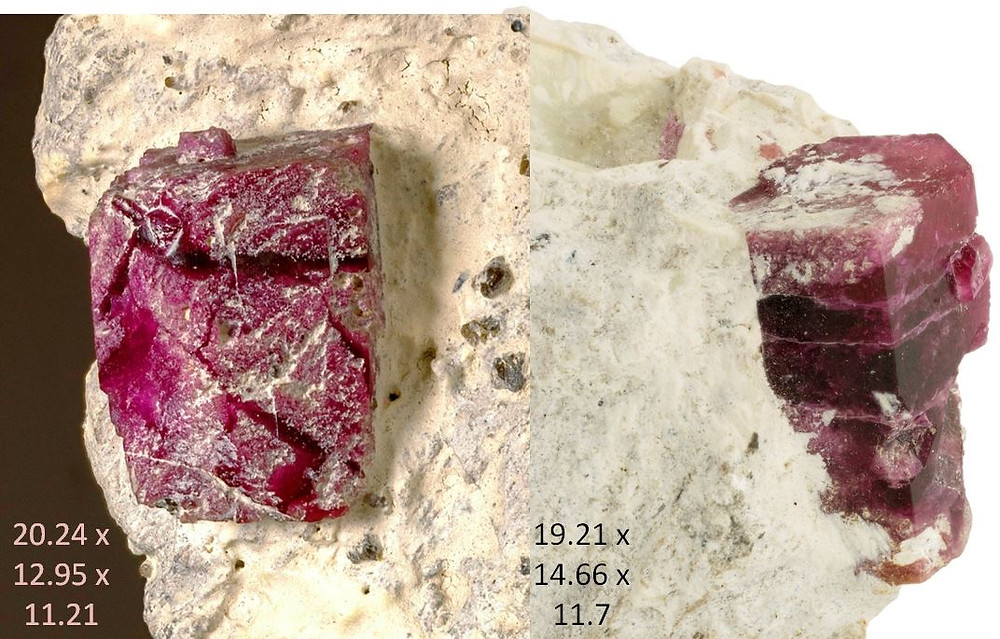 Two large red beryl on matrix - King of the Mountain with Lottery Ticket