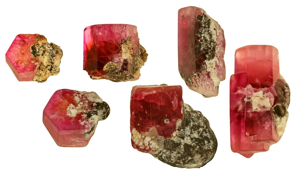 Red Beryl on Bixbyite from Wafer to Prism