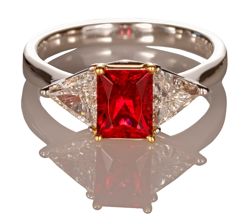 Red Emerald Twin Triangle Ring