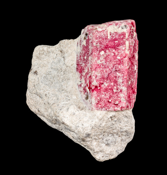 LARGE BUBBLEGUM RED BERYL ON MATRIX