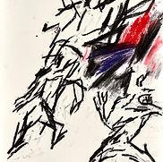 02 2016-057 Exode fusain pastel sur papi