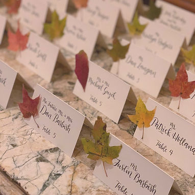 Escort Card Calligraphy Fall Theme