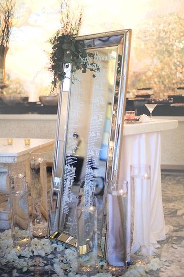 Mirror seating chart philadephia wedding