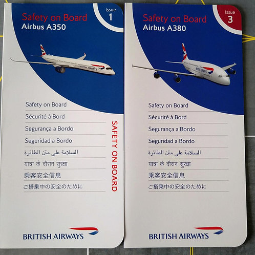 BRITISH AIRWAYS AIRBUS A350 & A380 SAFETY CARDS