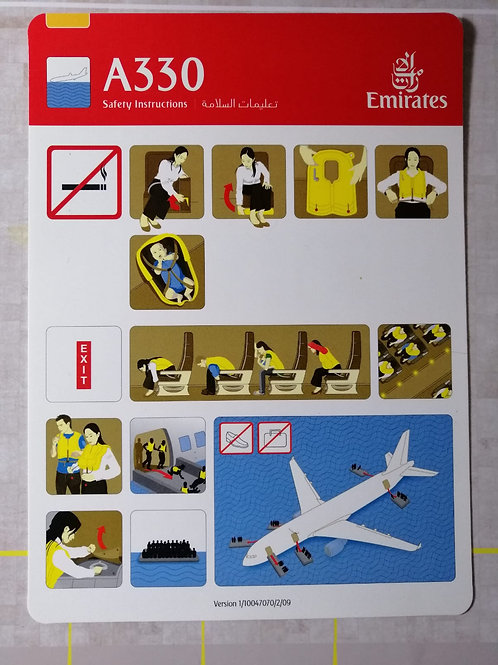 EMIRATES AIRBUS A330 SAFETY CARD