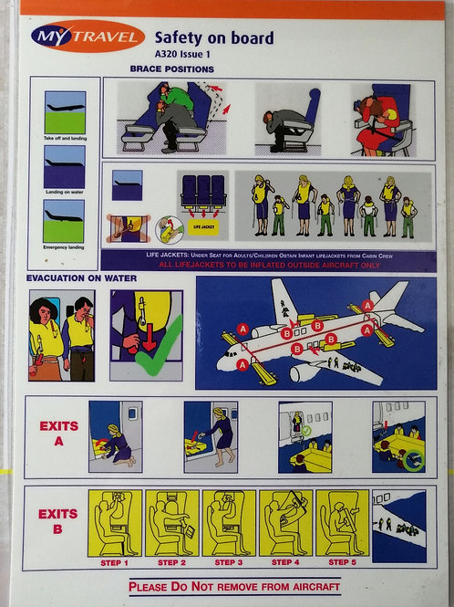 MY TRAVEL AIRBUS A320 SAFETY CARD