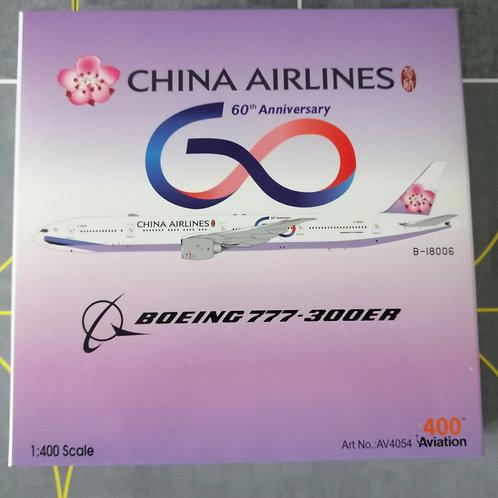 """AV400 CHINA AIRLINES B7777-300ER B-18006 """"60TH ANNIVERSARY""""  1/400"""
