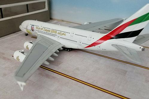 "GEMINI JETS EMIRATES A380 A6-EUZ "" YEAR OF ZAYED 2018"" 1/400"