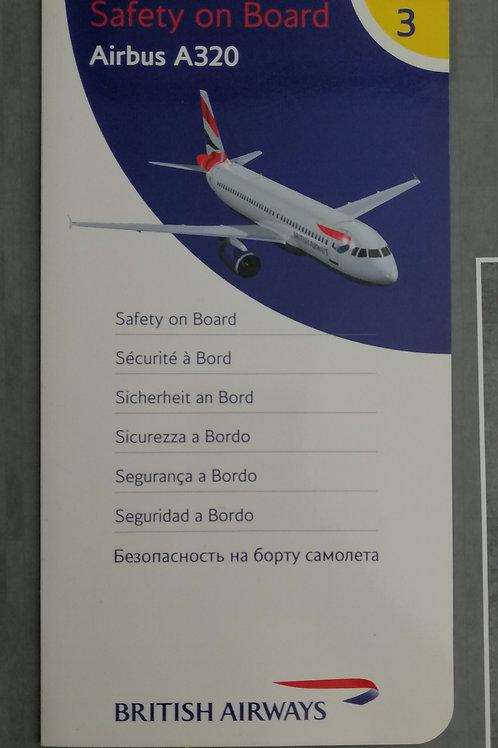 BRITISH AIRWAYS AIRBUS A320  SAFETY CARD