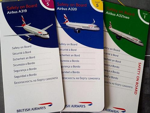 BRITISH AIRWAYS AIRBUS NARROW BODY SET OF 3 SAFETY CARDS