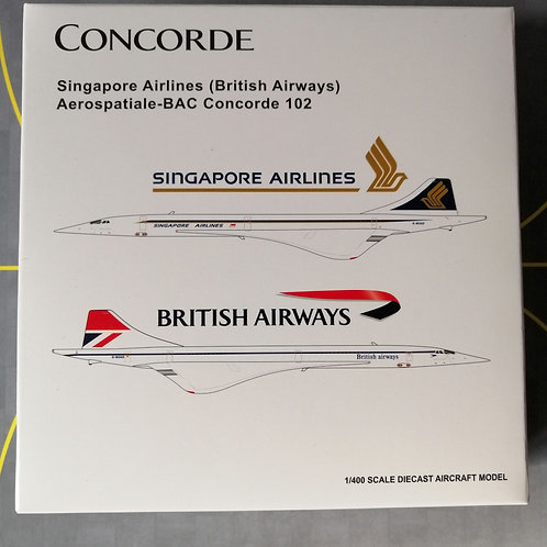 JC WINGS BRITISH AIRWAYS /SINGAPORE AIRLINES CONCORDE G-BOAD  SPLIT LIVERY 1/400