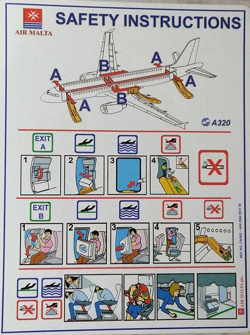 AIR MALTA  AIRBUS A320  SAFETY CARD