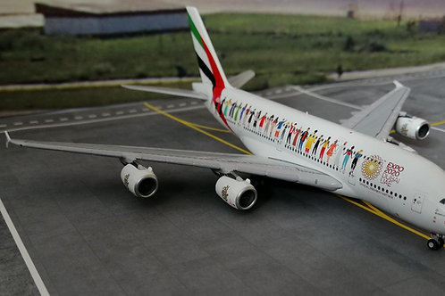"""GEMINI JETS EMIRATES A380 A6-EVB """" YEAR OF TOLERANCE"""" 1/400"""