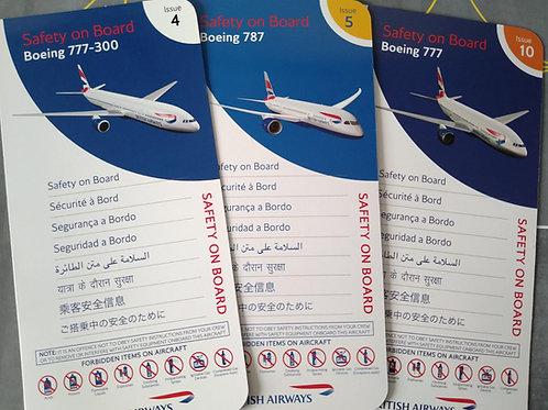 BRITISH AIRWAYS BOEING WIDE BODIES SET OF 3 SAFETY CARDS