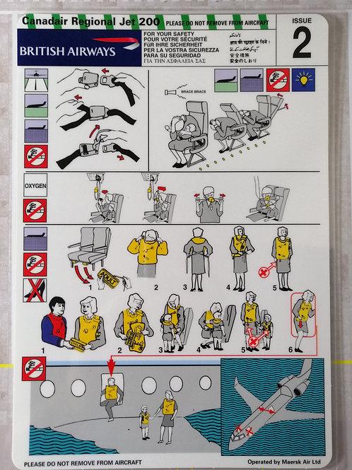 BRITISH AIRWAYS CRJ-200  SAFETY CARD