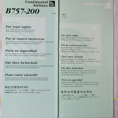 CONTINENTAL BOEING B757 X2 SAFETY CARDS