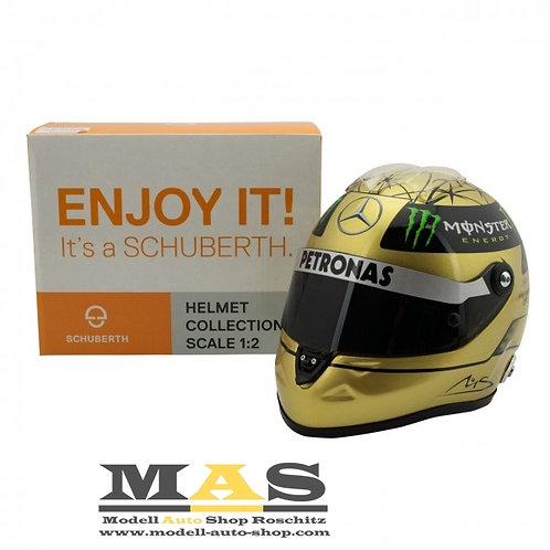 Michael Schumacher Spa 2011 Gold Helm Mercedes Schuberth 1/2