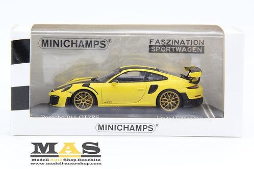 Porsche 911 GT2 RS Weissach Package 2018 yellow Minichamps 1/43