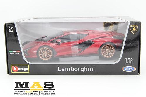 Lamborghini Sian FKP 37 metallic-rot 2019 Bburago 1/18