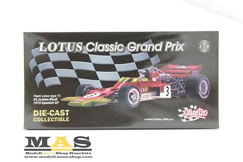 Lotus 72 J. Rindt Weltmeister 1970 Spanien GP No. 3 Quartzo 1/18