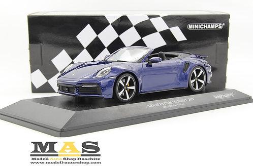 Porsche 911 992 Turbo S Cabrio 2020 blau Minichamps 1/18