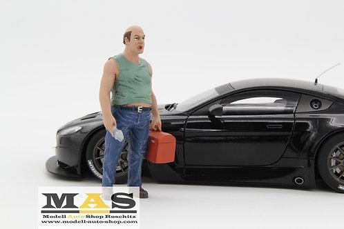 Mechaniker Sam mit Werkzeug Koffer Figur American Diorama 1/18
