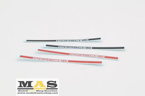 Porsche Schriftzug für Seitenwand Decals 1/18 rot, schwarz, weiß