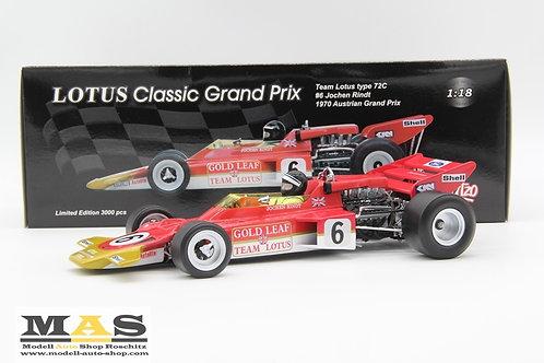 Lotus 72 J. Rindt Weltmeister 1970 Österreich GP No. 6 Quartzo 1/18
