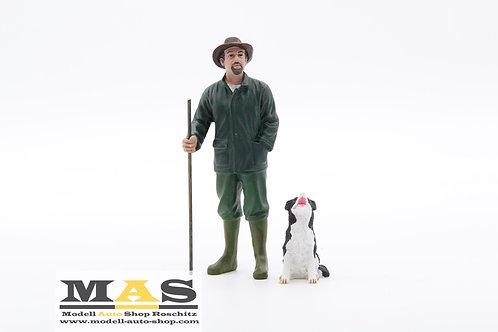 Man with Dog Shepherd American Diorama 1/18