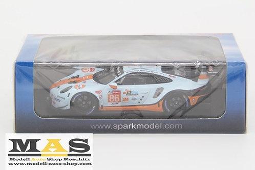 Porsche 911 RSR Gulf Racing Le Mans 2019 Preining Barker Wainwright Spark 1/43