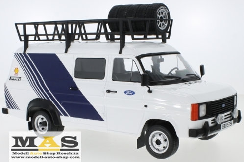 Ford Transit MK2 1979 Team Ford with roof rack and IXO 1/18 tires