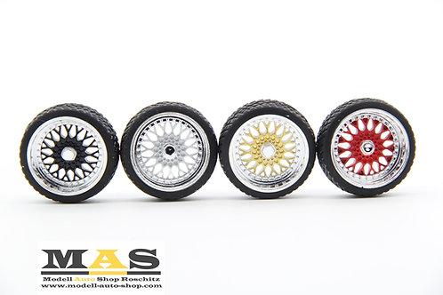 BBS RS 15 Zoll SD Felgen 1/18 silber, schwarz, gold, rot