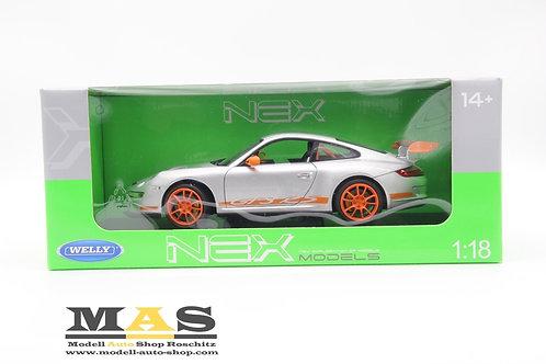 Porsche 911 997 GT3 RS silber 2010 Welly 1/18