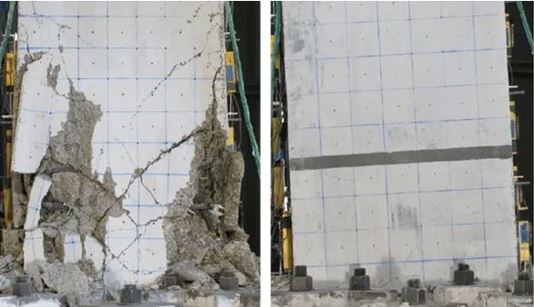 At left, standard reinforced concrete; at right, ultra-high-performance fiber-reinforced concrete, under similar severe earthquake loadings.