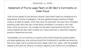 La Casa Blanca critica las afirmaciones de AG Barr de que no hay fraude electoral