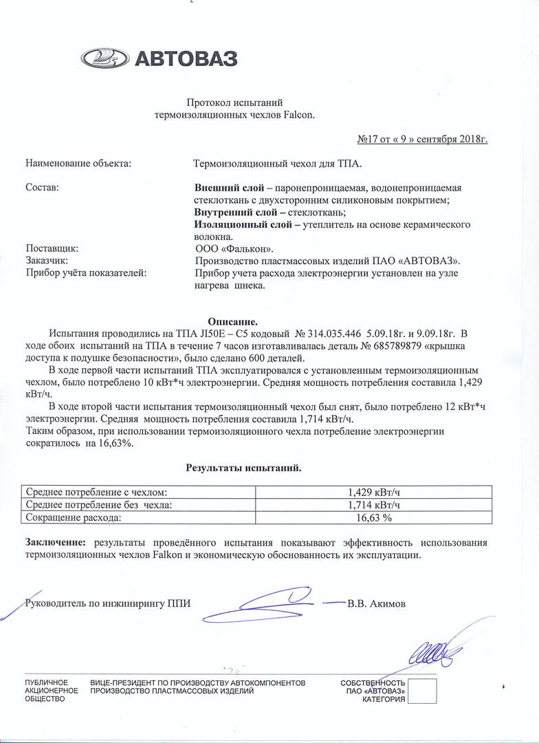 Протокол испытаний №17