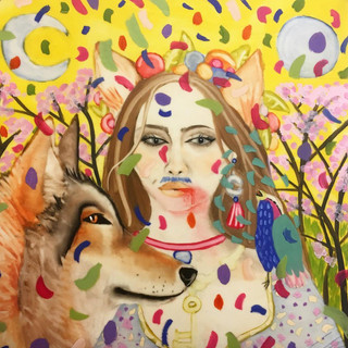 Self portrait with wolf and song bird