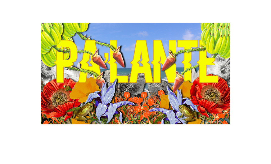 """Lares Feliciano (b.1985) PA'LANTE 2019 Digital collage on aluminum  A contraction of """"para adelante"""", pa'lante is Puerto Rican slang for """"forward"""". Throughout Puerto Rican history, pa'lante has become a rally cry for resistance and resilience. In the summer of 2019, Puerto Ricans demonstrated the deep and powerful message ofpa'lante as protestors of all ages marched in the streets demanding the resignation of corrupt governor Ricardo Rosselló. This work celebrates the success of this protest and the power and grit of the Puerto Rican people."""