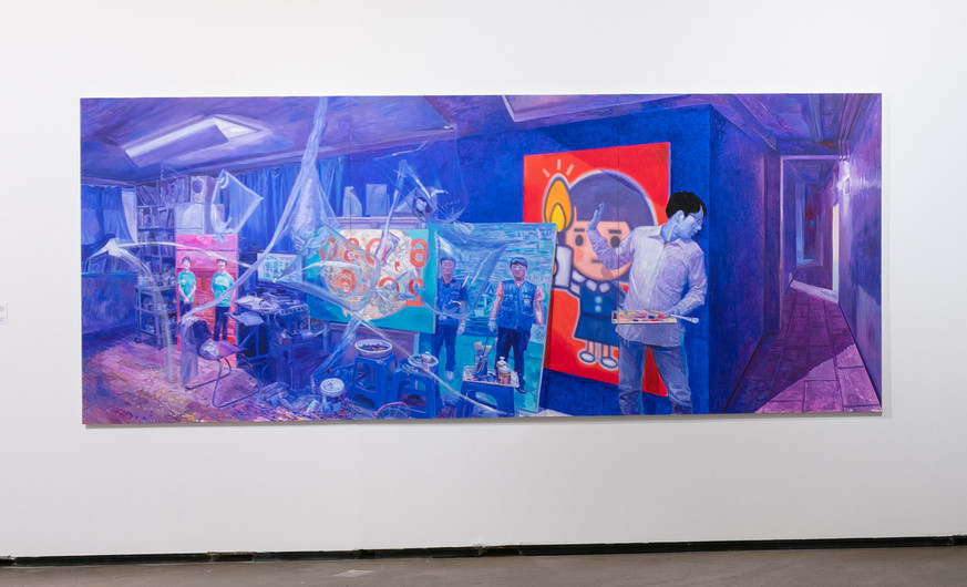 """Park Younggyun (b.1966)  Bora 2016 Oil on canvas  Bora is a parody of Park Younggyun's 1990 work, Putting Up Propaganda During the War, also in this exhibition. In response to the revelation that Park Geun-hye's regime tried to censor a blacklist of artists that it deemed """"anti-governmental,"""" Park painted this humorous depiction of himself censoring his own work. Depending on context, bora can mean """"look!,"""" """"purple"""" or be a woman's name."""