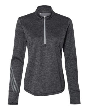 Ladies Adidas Heathered Quarter-Zip Pullover