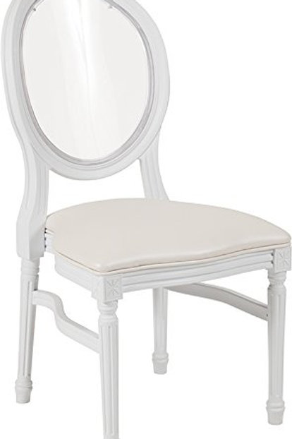 Clear Back White Louis Chairs