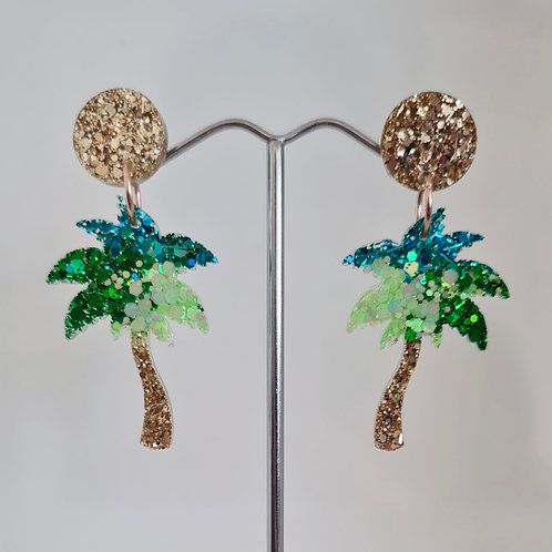 Palm Tree Dangles - Green & Blue