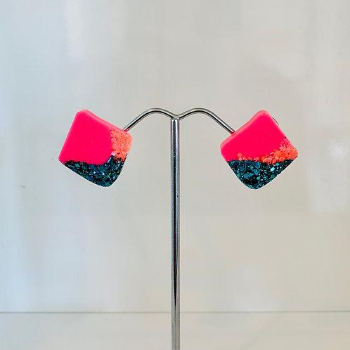 Glitter & Pink Diamond Stud