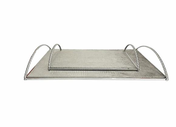 Metal Tray w/Handles, Silver
