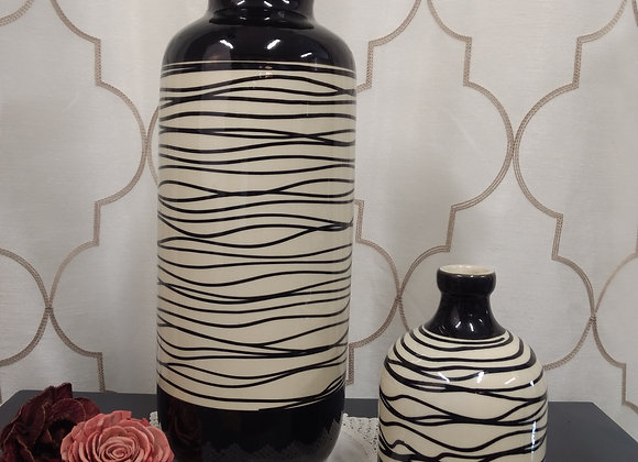 Ceramic Vase - Black/White Lines, 2 sizes