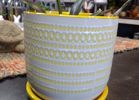 Planter w/saucer - Yellow