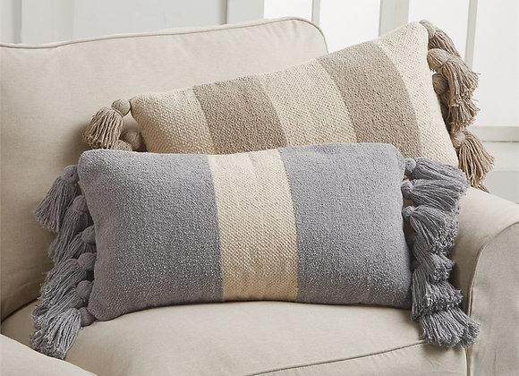 Striped Tassel Rectangle Pillow - 2 styles