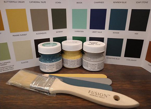 """Tester Sample Kit - 3 colors with 1"""" Brush"""