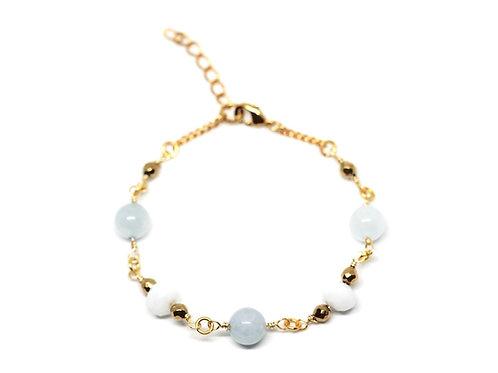 Aquamarine & White Glass Bracelet