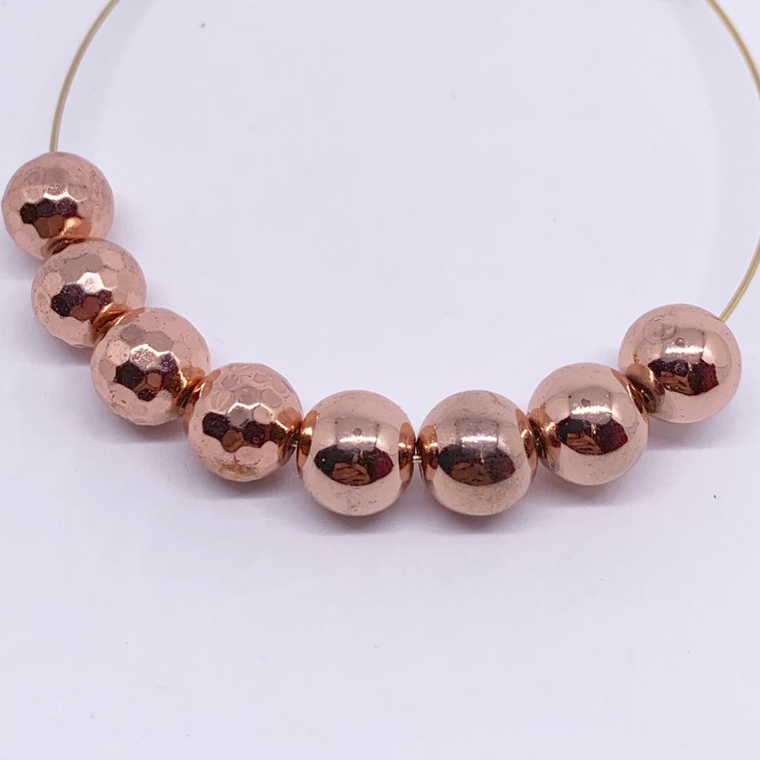 Faceted or Round Titanium Hematite in Rose Gold